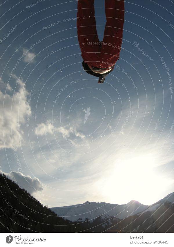 Superman Wolken springen Angst fliegen frei Geschwindigkeit Sicherheit Abheben Held Superman Funsport Retter