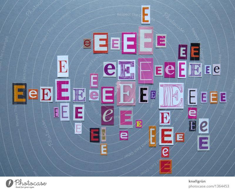 Ich kaufe ein E Schriftzeichen Kommunizieren eckig grau orange rosa rot weiß Lateinisches Alphabet Großbuchstabe Buchstaben Sprache Auswahl viele Farbfoto
