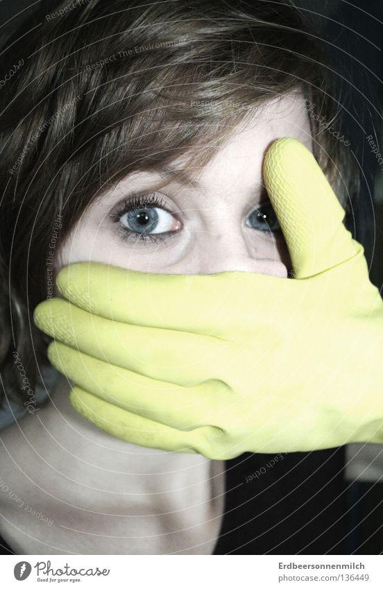 Mund zu Augen auf kalt gelb Panik Trauer Verzweiflung Angst Langeweile Schock Gummihandschuh Haare & Frisuren blau bleich Hoffnungslosigkeit Arbeitshandschuhe