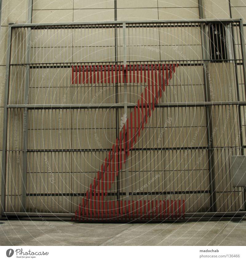 ZETT IM KNAST Mauer Wand Fassade Zeichen Schriftzeichen grau Sicherheit Schutz Design Buchstaben Typographie Lateinisches Alphabet Farbfoto Gedeckte Farben