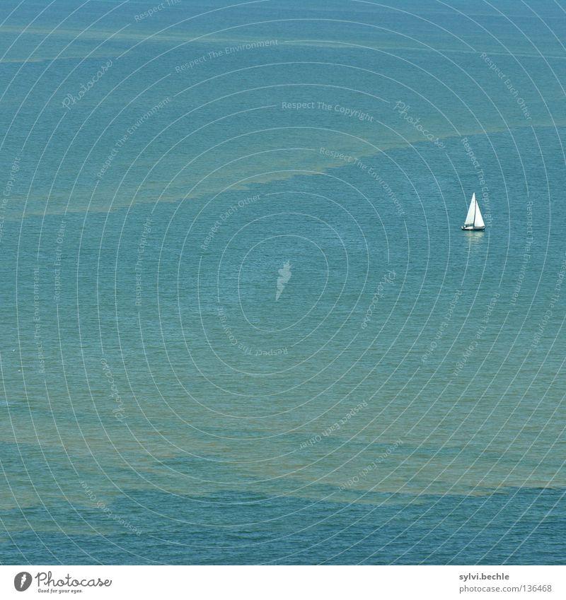 einsam auf weiter flur Wasser weiß Meer grün blau Ferien & Urlaub & Reisen ruhig Einsamkeit Ferne Erholung See Landschaft Linie Wasserfahrzeug Raum Wellen