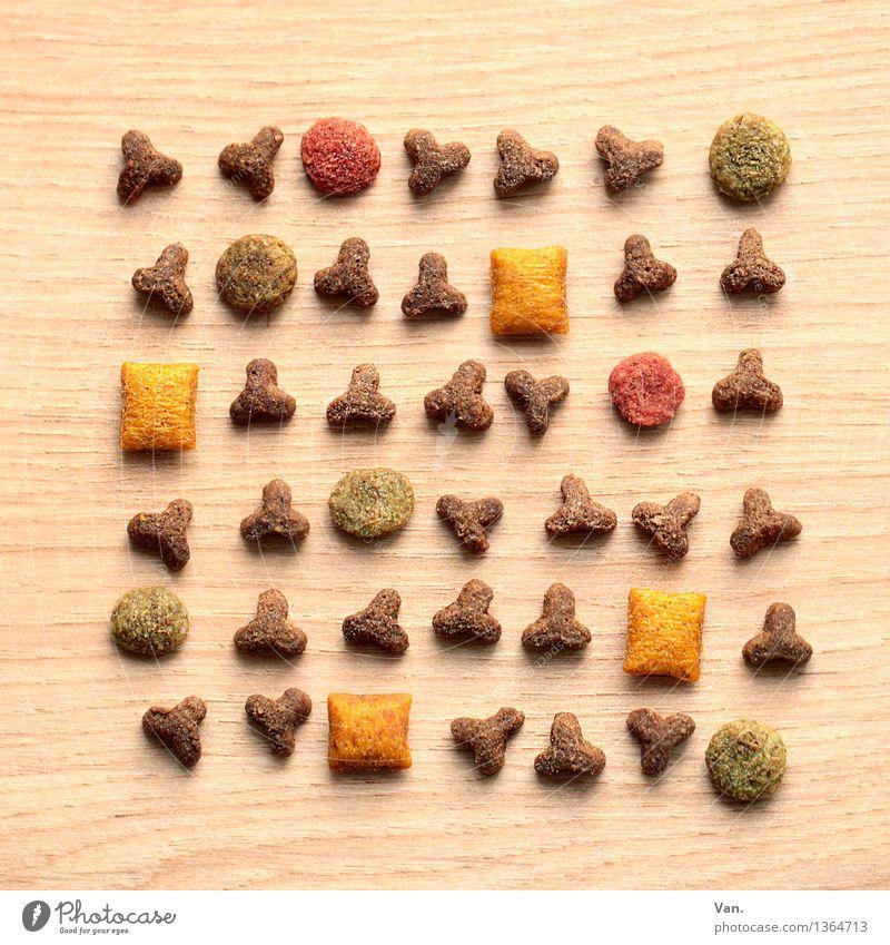Katzenfutter, durcheinander grün rot gelb klein braun rund lecker Fleisch Fressen Rechteck Dreieck Katzenfutter