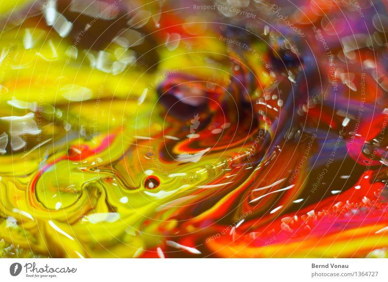Farbe Atelier mehrfarbig violett orange rot Flüssigkeit Acrylfarbe Kunst malen mischen Gemälde Kreativität Freizeit & Hobby glänzend Farbfoto Innenaufnahme