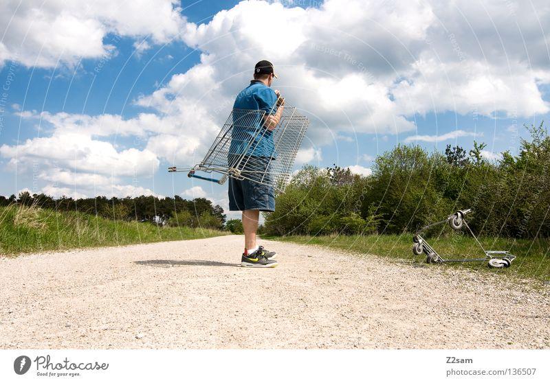 wie bestellt und nicht abgeholt Mensch Himmel Mann grün blau Sommer Wolken Einsamkeit Ferne Straße Erholung Wiese Landschaft Stein Wärme Zufriedenheit