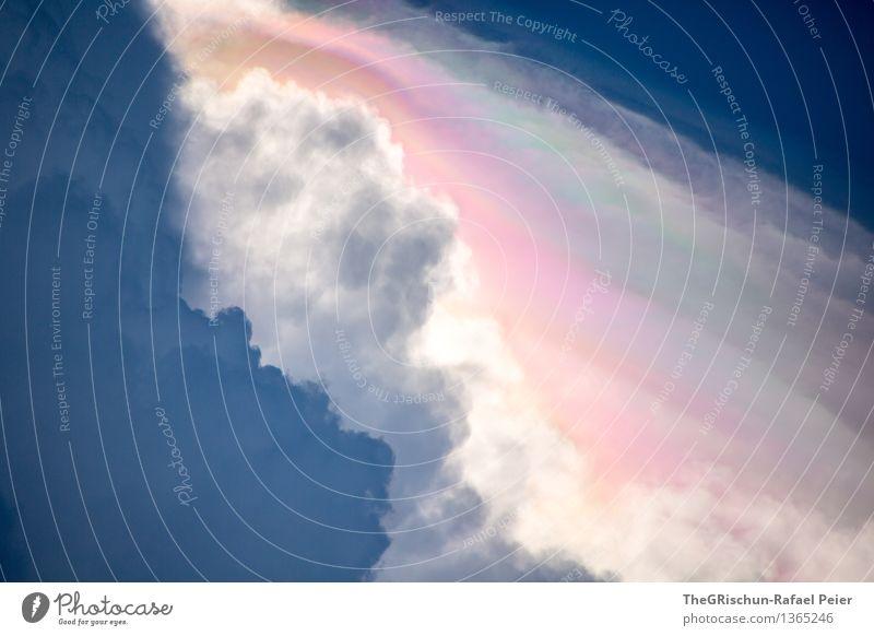Wolkig Umwelt Natur Luft Himmel Wolken Gewitterwolken blau mehrfarbig grau grün violett rosa rot weiß Stimmung Unwetter schön Farbfoto Außenaufnahme