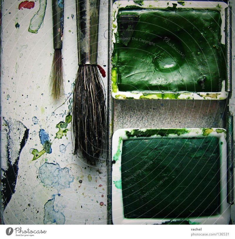 Deutliche Gebrauchsspuren grün Haare & Frisuren Farbstoff Kunst Freizeit & Hobby dreckig Bild streichen Grafik u. Illustration Kreativität zeichnen Gemälde
