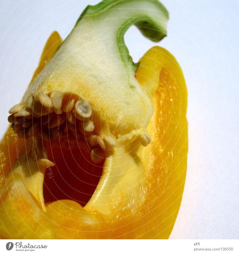 PaprikaDetail IV Peperoni Gesundheit Vitamin aufgeschnitten Hälfte Lebensmittel Zutaten grün gelb weiß Pflanze Ernährung Gesunde Ernährung Stengel Quadrat quer