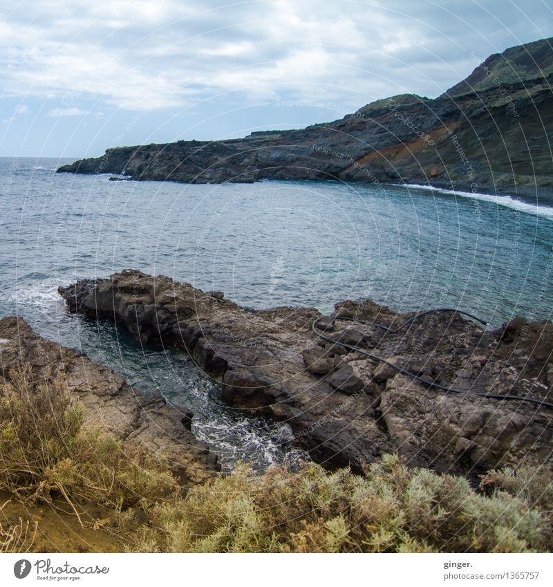 Playa La Martina | La Palma Umwelt Natur Landschaft Urelemente Erde Luft Wasser Himmel Wolken Frühling Wetter Pflanze Felsen Küste Strand Bucht blau braun grau