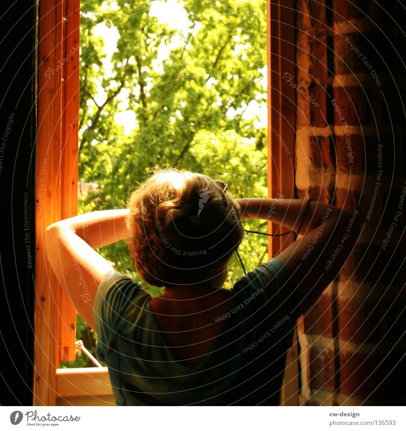 AM FENSTER Frau Himmel weiß Baum Blume blau Pflanze Sommer Haus schwarz Wolken Einsamkeit Leben dunkel Erholung Stil