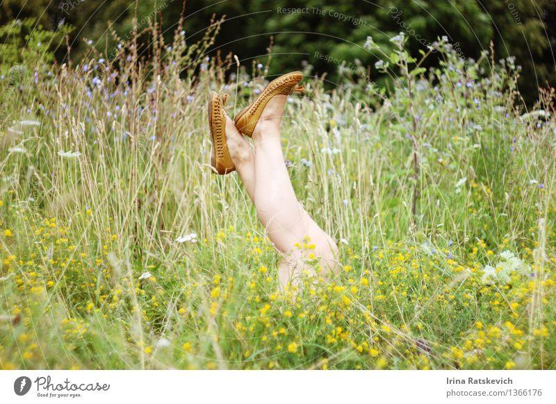 Mensch Natur Jugendliche Pflanze schön Junge Frau Erholung Blume Landschaft 18-30 Jahre Erwachsene Gras Beine Mode Park Schuhe