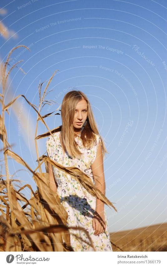 Porträt einer schönen Blondine im Kleid draußen auf dem Feld Mensch Himmel Natur Jugendliche blau Sommer Junge Frau Landschaft 18-30 Jahre Erwachsene Gefühle