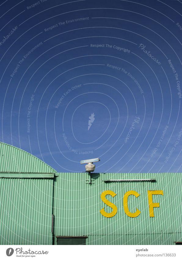 SCF is watching you ! V.1.1 türkis Wellblech Radarstation gelb Lampe Neonlicht Neonlampe Wolken Sicherheit Typographie Elektrizität Elektrisches Gerät