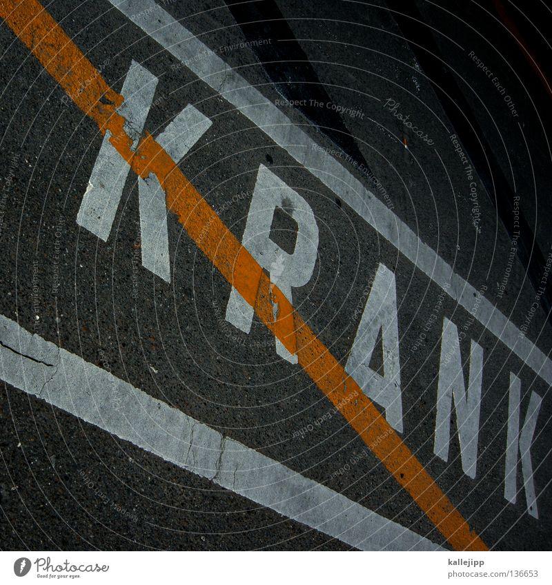 gesund Krankheit Typographie Parkplatz Streifen Verbote grau weiß Buchstaben Schriftzeichen Großbuchstabe Schlagwort Bodenmarkierung diagonal Neigung graphisch