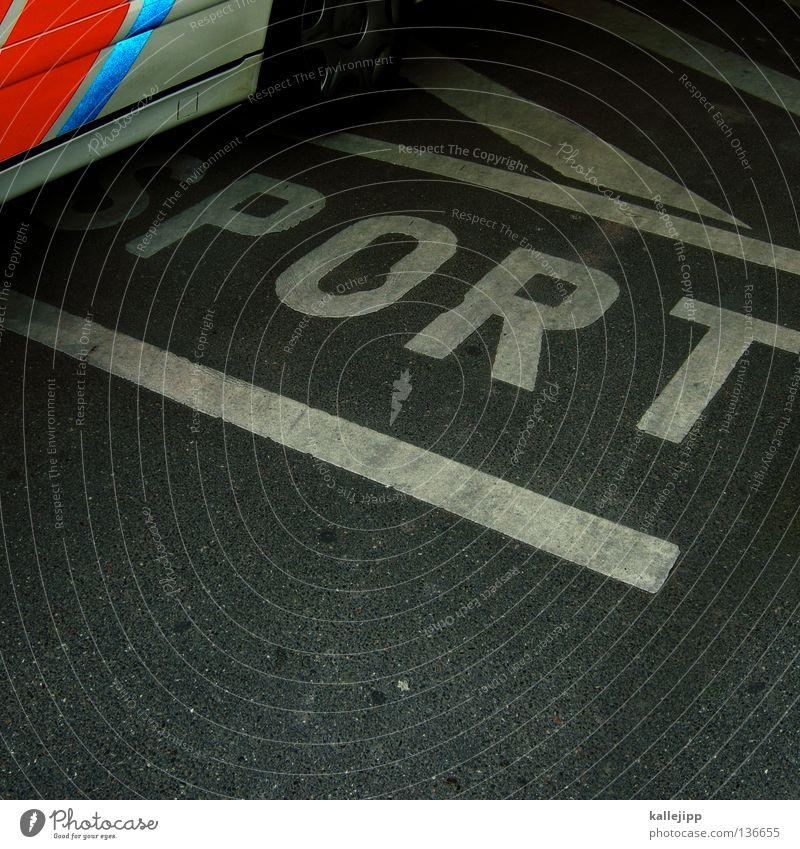 sportwagen Sportwagen Typographie Parkplatz Streifen grau weiß Buchstaben Verkehrswege Schriftzeichen Großbuchstabe Lateinische Schrift Bodenmarkierung