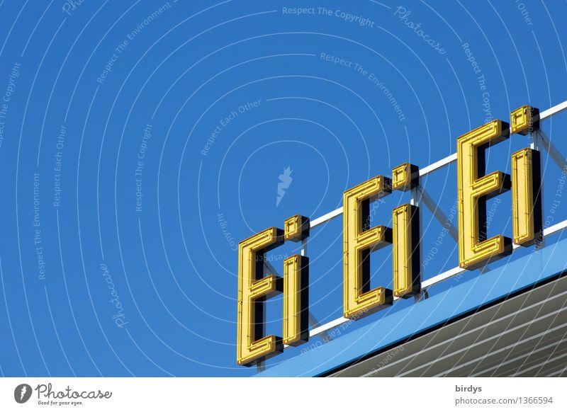 Eigelb auf Blau Spirituosen Wolkenloser Himmel Schönes Wetter Leuchtreklame Schriftzeichen Schilder & Markierungen leuchten ästhetisch einfach Freundlichkeit