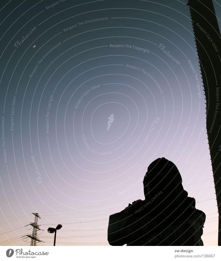 FROM DUSK TILL DAWN Mann Sonne Freude Wolken Erholung Kopf Wärme Arbeit & Erwerbstätigkeit Industrie Physik Schönes Wetter Wissenschaften Anzug hängen Strommast