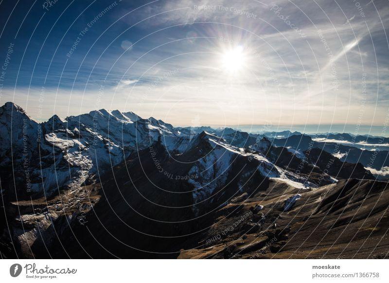 Schweizer Alpen Sonnenuntergang Umwelt Natur Landschaft Urelemente Erde Luft Himmel Wolkenloser Himmel Sonnenaufgang Sonnenlicht Herbst Klima Wetter