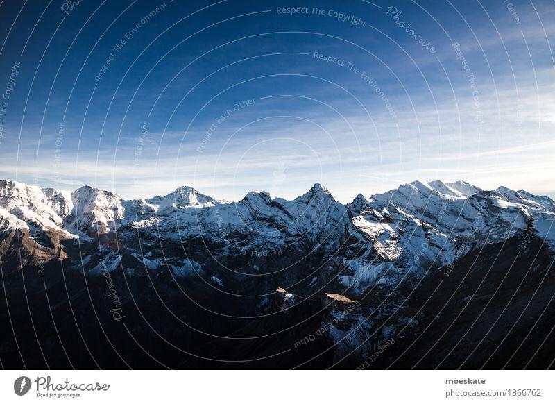 Schweizer Alpen Umwelt Natur Landschaft Urelemente Luft Himmel Wolkenloser Himmel Herbst Klima Wetter Schönes Wetter Schnee Hügel Felsen Berge u. Gebirge Gipfel