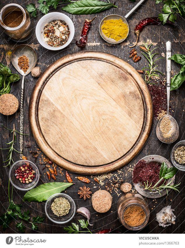 Vielzahl von Kräutern und Gewürzen Lebensmittel Kräuter & Gewürze Ernährung Vegetarische Ernährung Slowfood Schalen & Schüsseln Löffel Design Gesunde Ernährung
