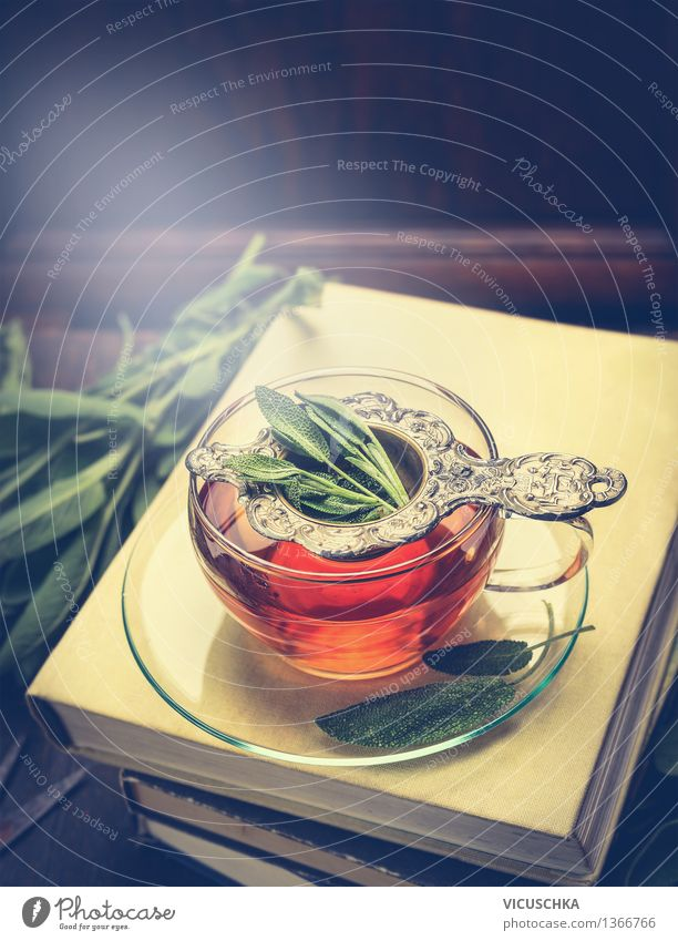 Kräutertee mit Salbei in Tasse auf dem Bücherstapel Kräuter & Gewürze Bioprodukte Getränk Heißgetränk Tee Glas Löffel Lifestyle Stil Design Alternativmedizin