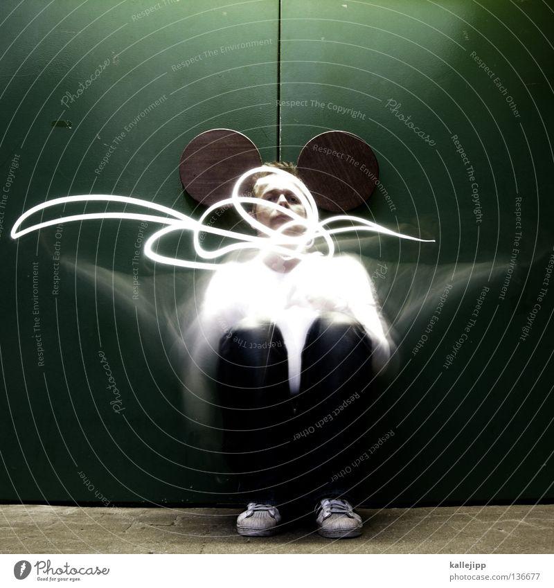 mousetrap Mensch Mann Freude Tier Bewegung Beleuchtung lustig sitzen Ohr Maske obskur grinsen Maus Comic Schwanz Humor