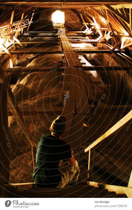 WAY OF LIGHT Mensch Mann Jugendliche Holz Mauer Wege & Pfade Denken hell Religion & Glaube Kunst warten verrückt sitzen Treppe T-Shirt
