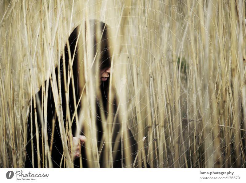 gedanken verloren Frau Einsamkeit Gras Wege & Pfade Küste grau Traurigkeit See Erde Denken träumen Perspektive trist Suche Trauer Lippen