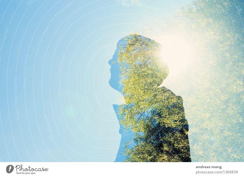 #305 / Doppelt belichtet maskulin Junger Mann Jugendliche Leben 1 Mensch 18-30 Jahre Erwachsene Himmel Herbst Baum beobachten Denken stehen träumen warten