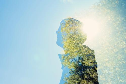#305 / Doppelt belichtet Mensch Himmel Jugendliche blau Baum Junger Mann 18-30 Jahre Erwachsene Umwelt Leben Herbst Denken träumen maskulin frei Erfolg