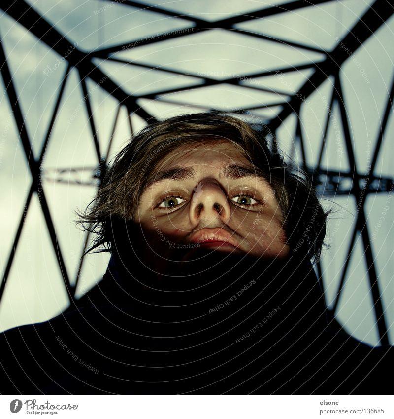::ICH:: i Porträt Strommast Industrie Mann ich me my self Gesicht Metall Baugerüst