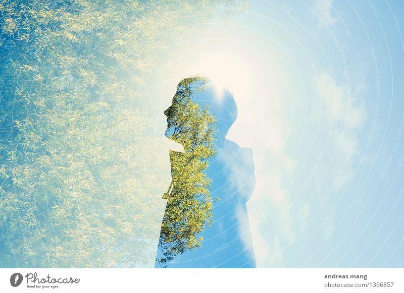 #307 / Ausblick maskulin Junger Mann Jugendliche 1 Mensch Umwelt Baum beobachten Blick stehen leuchten träumen Wachstum außergewöhnlich Coolness einzigartig