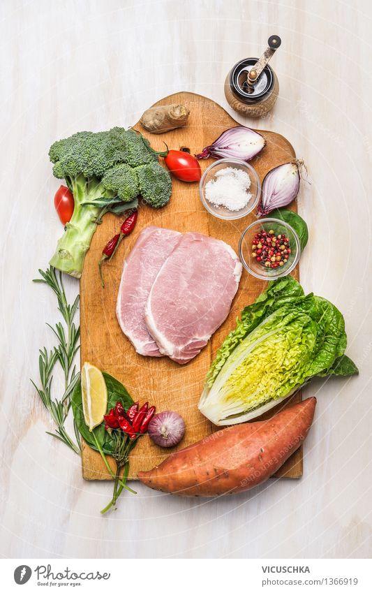 Schweinelende Filet mit Variation von Bio-Gemüse Essen Stil Lebensmittel Design Ernährung Tisch Kochen & Garen & Backen Kräuter & Gewürze Küche Bioprodukte