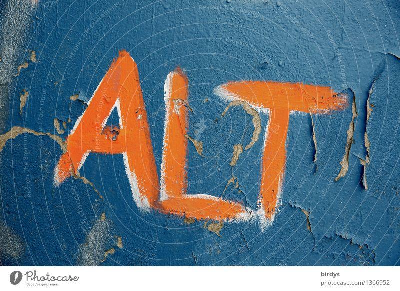 ..werden ist nichts für Feiglinge alt blau Farbe Einsamkeit Wand Graffiti Senior Mauer Zeit Gesundheitswesen orange authentisch Schriftzeichen ästhetisch