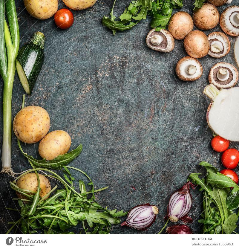 Frisches saisonales Gartengemüse füs Kochen Natur Sommer Gesunde Ernährung gelb Leben Stil Hintergrundbild Lebensmittel Design Tisch Kochen & Garen & Backen