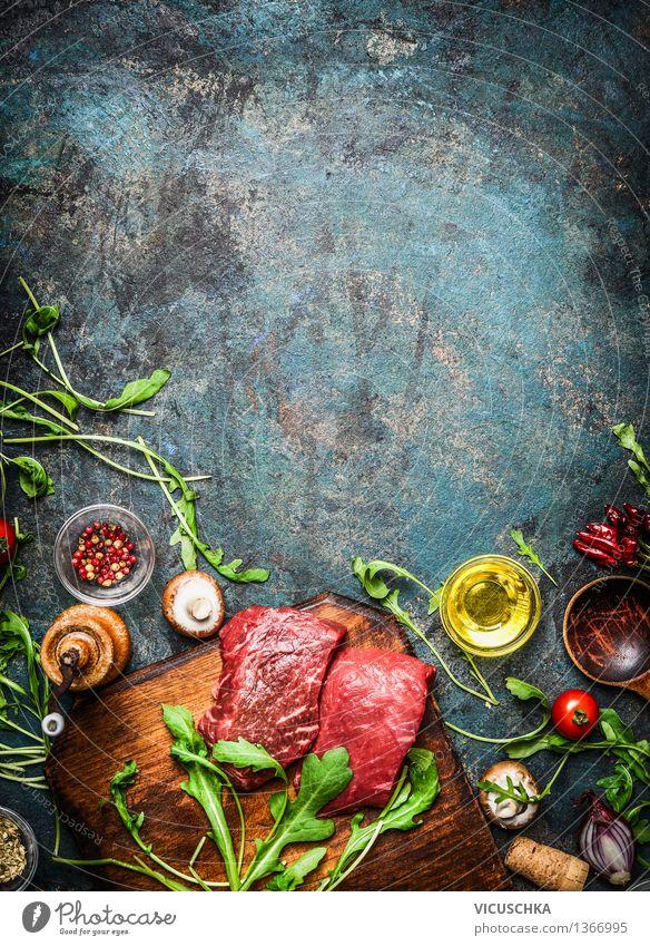 Rindersteak und frische Zutaten für leckeres Kochen Gesunde Ernährung Leben Stil Hintergrundbild Lebensmittel Design Tisch Kochen & Garen & Backen