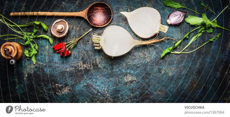 Knollengemüse Und frische Kräutern und Gewürze blau Gesunde Ernährung Leben Stil Holz Garten Lebensmittel Design Tisch Küche Gemüse Fahne Bioprodukte Abendessen