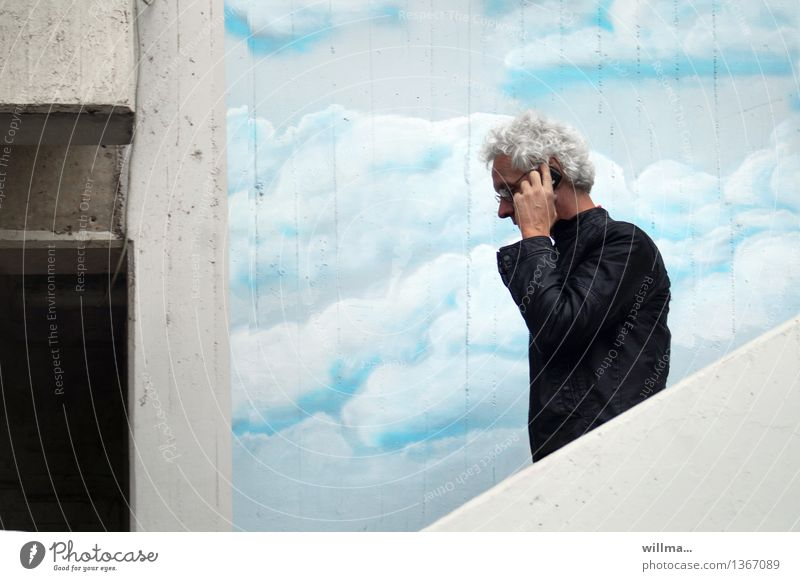 auf geheimhaltungsstufe I | streng geheim Mensch Mann Wolken Graffiti sprechen Business Fassade maskulin Treppe Erfolg Kommunizieren Zukunft Telekommunikation
