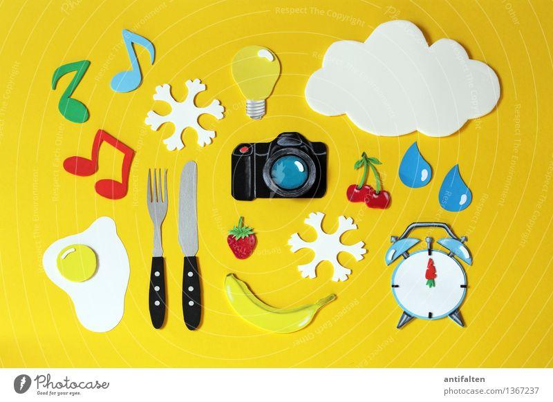 Super Still Life | Gib Gummi Wolken gelb Kunst Lebensmittel Frucht Freizeit & Hobby Ernährung Papier Zeichen Tropfen Kunststoff Glühbirne Messer falsch Basteln Karton