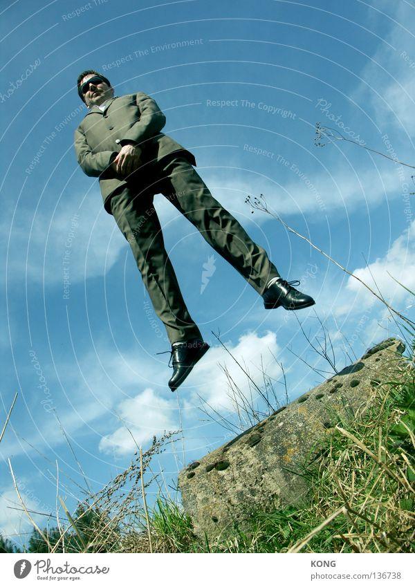 konjunktur Himmel Mann blau grün Wiese oben Gras springen Business Arbeit & Erwerbstätigkeit fliegen Flugzeug Energiewirtschaft Geschwindigkeit Luftverkehr Rasen