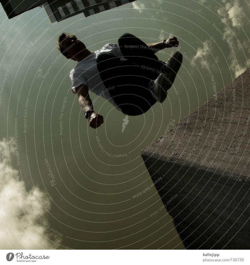 trau dich Mann Silhouette Dieb Krimineller Ausbruch Flucht umfallen Fenster Parkhaus Geometrie Gegenlicht Jacke Mantel Mütze Strahlung Thriller springen hüpfen