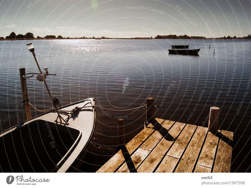 Kleiner Hafen Umwelt Natur Landschaft Wasser Wolkenloser Himmel Horizont Klima Wetter Schönes Wetter Küste Ostsee Ruderboot Seil Steg Anlegestelle Holz glänzend