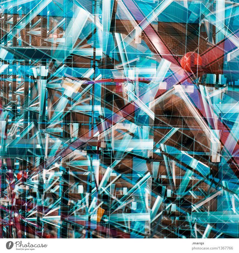 Glitzer Lifestyle elegant Stil Design Architektur Linie leuchten außergewöhnlich Coolness eckig trendy blau rot chaotisch Farbe Perspektive Surrealismus