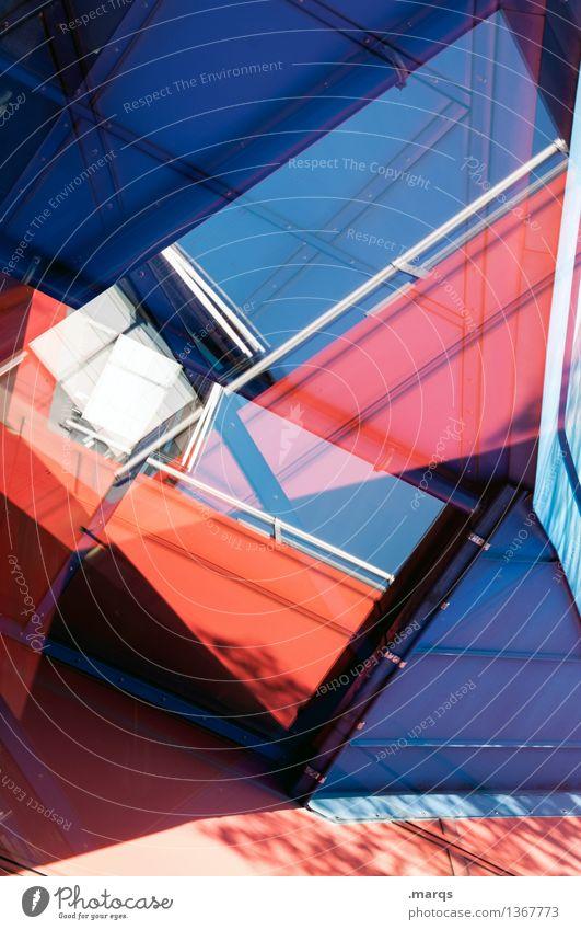 Mehrzweckhalle elegant Stil Design Bauwerk Gebäude Architektur Mauer Wand Fassade außergewöhnlich Coolness eckig trendy einzigartig modern verrückt blau rot