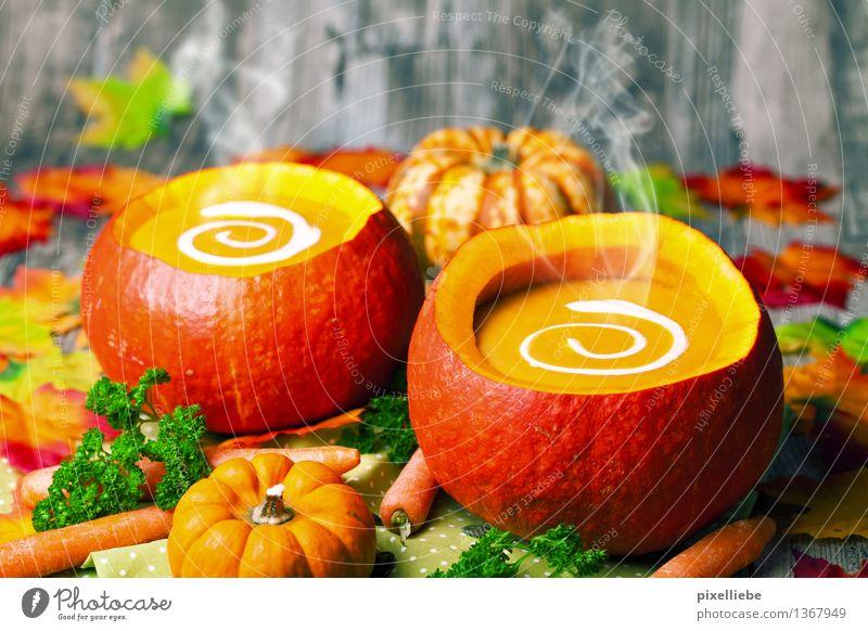 Heiße Kürbissuppe Natur Gesunde Ernährung Herbst Essen Gesundheit Holz Feste & Feiern Lebensmittel Dekoration & Verzierung Tisch Kräuter & Gewürze Küche Gemüse
