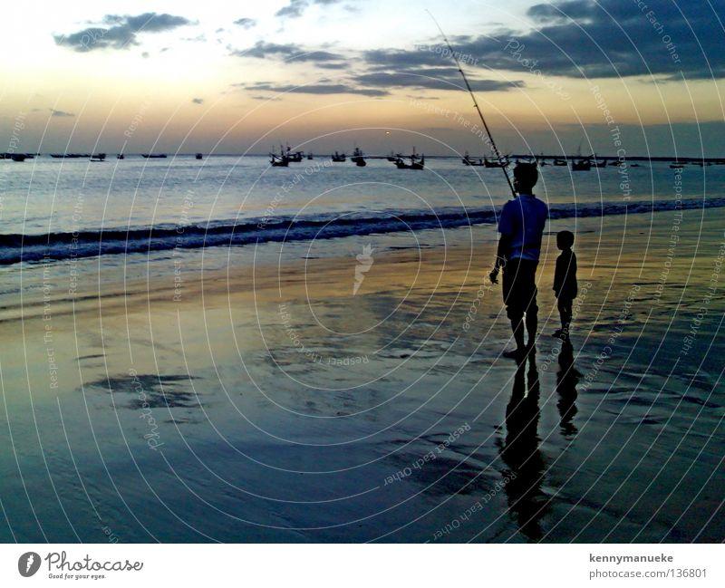 Fishing Bali Sonnenuntergang Freizeit & Hobby Siluet Indonesia Jimbaran Bay Father clouds dawn