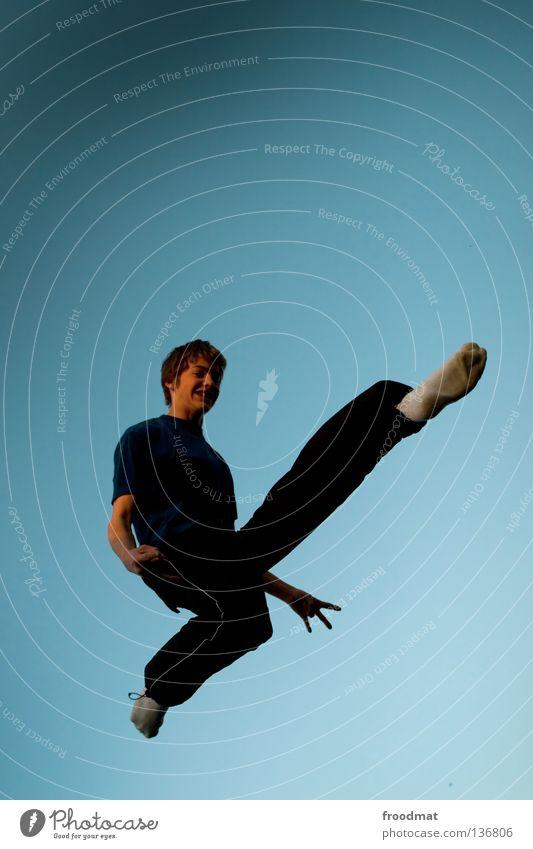 Kick off meeting Himmel Jugendliche Freude Erholung Spielen Bewegung springen Musik Zufriedenheit elegant frei Flugzeug ästhetisch Luftverkehr verrückt Aktion