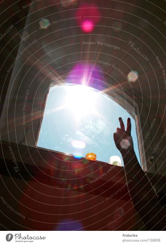 love peace and harmony Hand Himmel Sonne Freude Farbe dunkel Fenster Freiheit Wärme hell Raum Stern glänzend Arme rosa Energie