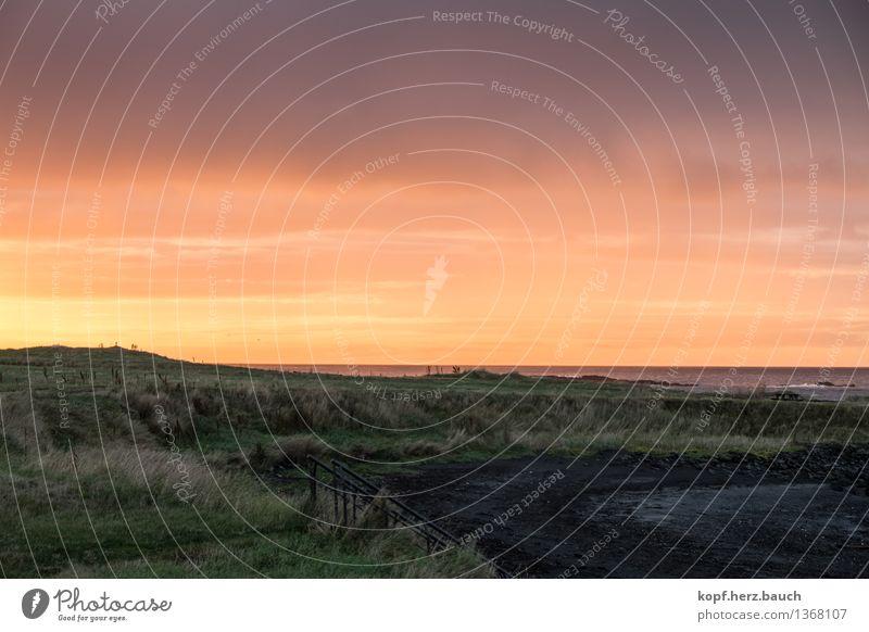 Tag-Nacht-Grenze Himmel Sonnenaufgang Sonnenuntergang Wetter Schönes Wetter Meer Akranes Island Gefühle Stimmung Warmherzigkeit trösten Glaube demütig