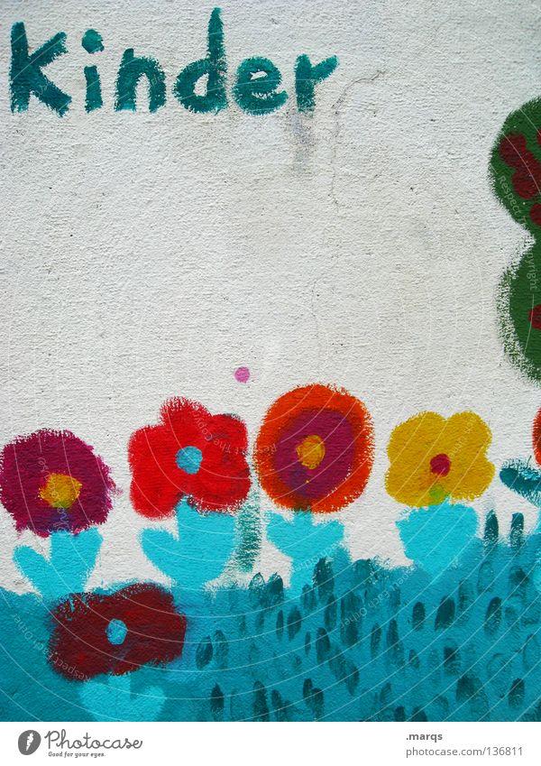 Kindergarten blau weiß rot Blume gelb Wand Graffiti Garten Kindheit Schriftzeichen Buchstaben streichen türkis Politik & Staat