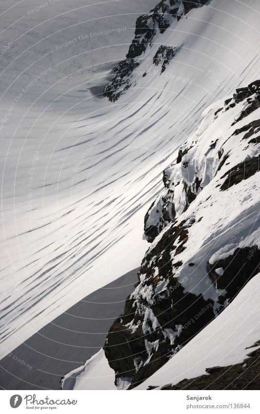Gletscherrand Natur weiß Winter Einsamkeit Tod Schnee Berge u. Gebirge oben grau Wege & Pfade Stein Traurigkeit Eis Felsen Wildtier wandern